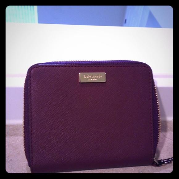 New Kate Spade Darci Laurel Way Leather Zip Around wallet Deep Plum